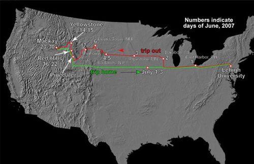 2007 Summer Travel Map